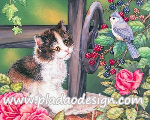 กระดาษสาพิมพ์ลาย สำหรับทำงาน เดคูพาจ Decoupage แนวภาำพ ลูกแมวขนยาว นั่งมองนกน้อยที่อยุ่บนต้นราสเบอร์รี่