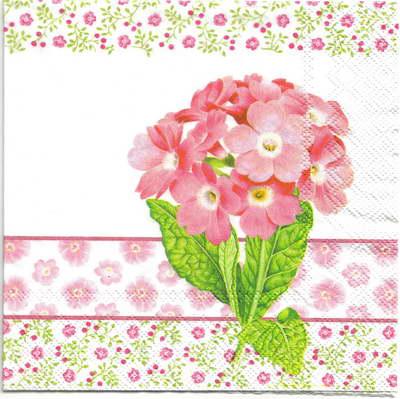 แนวภาพดอกไม้ เป็นช่อดอกไฮเดยเยียสีชมพูบนลายแต่ง เป็นภาพ 4 บล๊อค กระดาษแนพกิ้นสำหรับทำงาน เดคูพาจ Decoupage Paper Napkins ขนาด 33X33cm