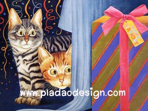 กระดาษสาพิมพ์ลาย สำหรับทำงาน เดคูพาจ Decoupage แนวภาพ 2 น้องแมวทำตาโต อยากรู้ว่ามีอะไรในกล่องของขวัญ