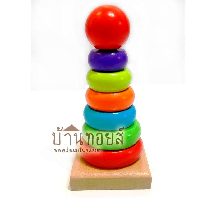 ของเล่นไม้ Rainbow Tower บล็อคไม้สวมหลัก 7 ชั้น