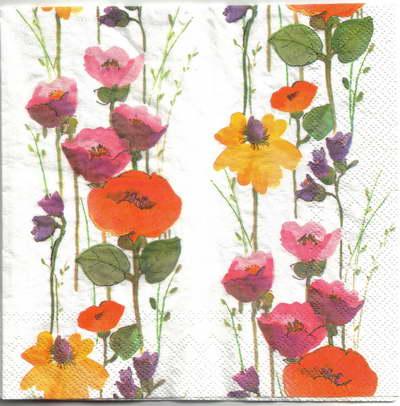 แนวภาพดอกไม้ เป็นช่อดอกป๊อปปี้เป็นสาย บนพื้นสีขาว เป็นภาพเต็ม กระดาษแนพกิ้นสำหรับทำงาน เดคูพาจ Decoupage Paper Napkins ขนาด 33X33cm