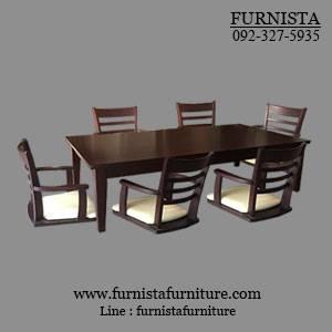 ชุดโต๊ะญี่ปุ่น 90x150 ซม.+เก้าอี้สไตล์ญี่ปุ่น 6 ที่นั่ง สีโอ๊ค
