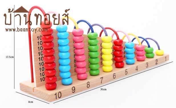 ลูกคิดข้ามรั้ว 10 แถว เป็นของเล่นเสริมพัฒนาการ ฝึกทักษะคณิตศาสตร์ สำหรับสอนคิดเลข อย่างง่ายโดยการนับลูกปัด บวกเลข ลบเลข ของเล่นไม้ชุดนี้มีตารางการบวก-ลบเลขบนผิวไม้ เป็นการสร้างพื้นฐาน และ เสริมทักษะคณิตศาสตร์การคำนวณ ให้กับน้อง ๆ สามารถสอนเกี่ยวกับการนับจำนวน การบวกเลข การลบเลข และเรียนรู้เรื่องสี คณิตศาสตร์และการฝึกนับ