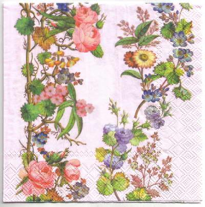 แนวภาพดอกไม้ เป็นช่อดอกไม้บนพื้นสีชมพู เป็นภาพครึ่งแผ่น กระดาษแนพกิ้นสำหรับทำงาน เดคูพาจ Decoupage Paper Napkins ขนาด 33X33cm