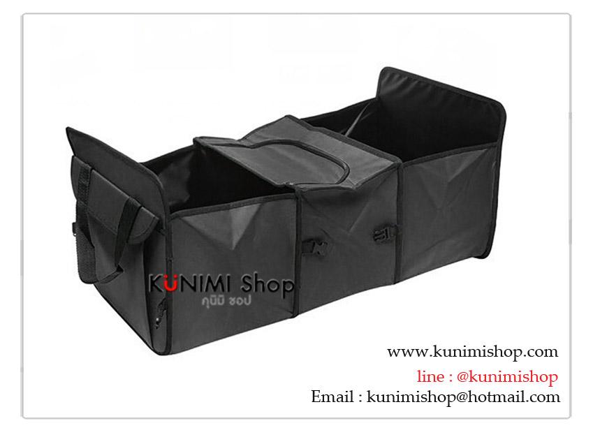 กระเป๋าผ้า แปลงเป็นกล่องที่เก็บของในรถยนต์ได้ มี 3 ช่อง มีช่องผ้าบุฟอยล์สำหรับเก็บของที่ต้องการรักษาอุณหภูมิเย็น-ร้อน ได้ระยะเวลาหนึ่ง เวลาไม่ใช้งานก็สามารถพับเก็บได้ ไม่เปลืองพื้นที่ สะดวก ทำให้ท้ายรถยนต์ไม่รก สร้างความเป็นระเบียบเรียบร้อย ขนาด : 60 x 28 x 31 ซม.