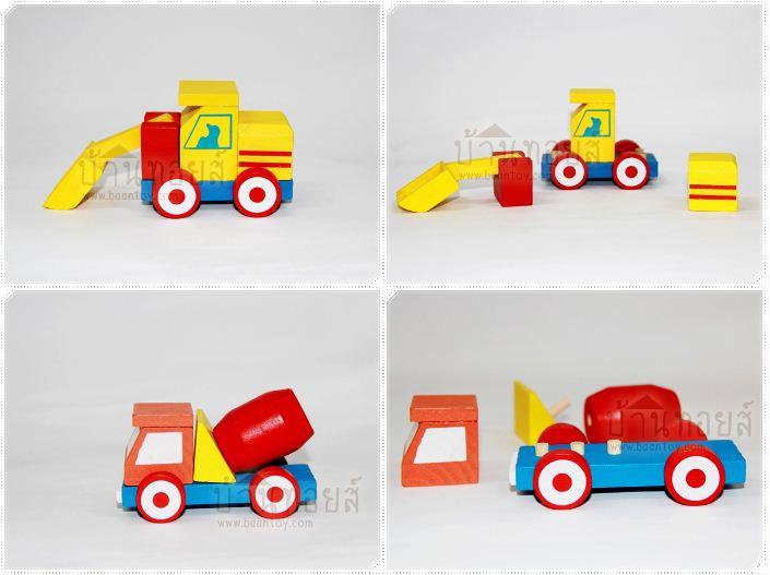 โมเดลไม้ของเล่น ชุดรถก่อสร้าง 4 คัน ของเล่นไม้ประกอบไปด้วย รถก่อสร้าง 4 คัน รถผสมปูน รถบด รถเครน รถขุดดิน ตัวรถถอดประกอบได้ ช่วยฝึกพัฒนาการทำงานประสานกันระหว่างมือและตา กล้ามเนื้อมัดเล็ก ความคิด จินตนาการ และสมาธิ