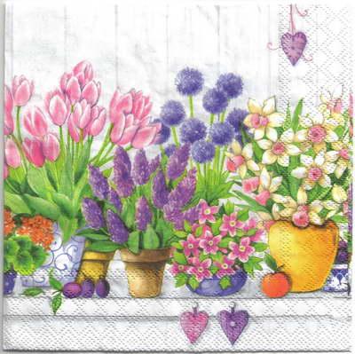 แนวภาพดอกไม้ แนวกระถางต้นไม้ เป็นภาพแนวยาว กระดาษแนพกิ้นสำหรับทำงาน เดคูพาจ Decoupage Paper Napkins ขนาด 33X33cm
