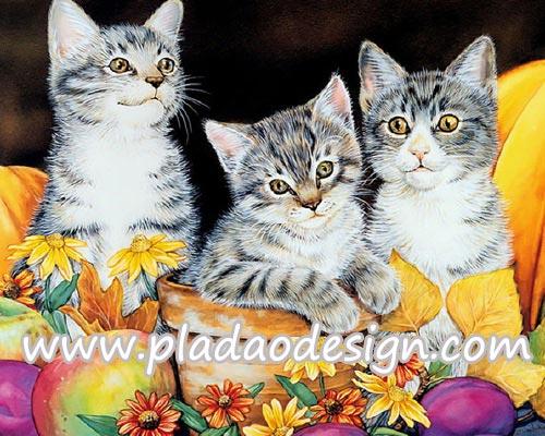 กระดาษสาพิมพ์ลาย สำหรับทำงาน เดคูพาจ Decoupage แนวภาำพ ลูกแมวน้อย 3 ตัว นั่งเล่นในกระถางไว้ปลูกต้นไม้