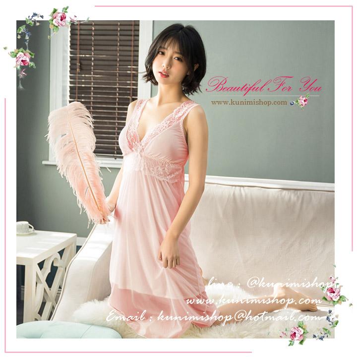 SP075 ชุดนอนกระโปรงยาว ประดับด้วยผ้าลูกไม้ สวยหวาน มี 2 สี สีขาว สีชมพู