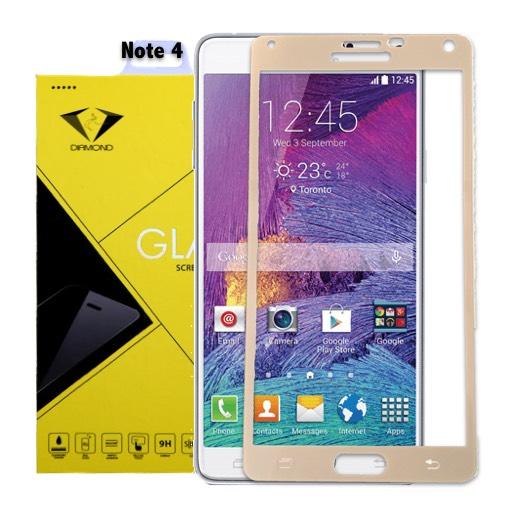 Diamond ฟิล์มกระจกนิรภัย ฟิล์มกันรอยมือถือ Samsung Note 4 เต็มจอ สีทอง ซัมซุงโน๊ค4