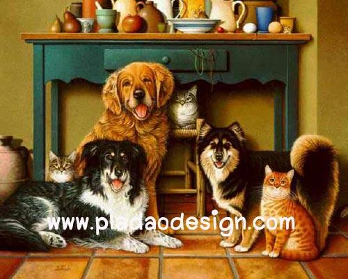 กระดาษสาพิมพ์ลาย สำหรับทำงาน เดคูพาจ Decoupage แนวภาพ น้องแมว 3 มากะพี่หมา 3 นั่งรวมตัวกันใต้โต๊ะเครื่องดื่ม