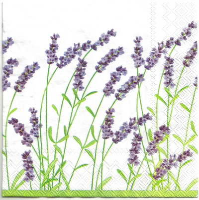 แนวภาพดอกไม้ เป็นช่อดอกไม้สีม่วงบนพื้นขาว เป็นภาพครึ่งแผ่น กระดาษแนพกิ้นสำหรับทำงาน เดคูพาจ Decoupage Paper Napkins ขนาด 33X33cm