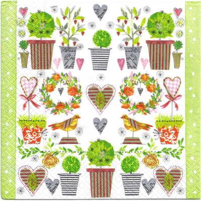 แนวภาพดอกไม้ เป็นลายแต่งกระถางต้นไม้ ดอกไม้ ภาพกระจายเต็มแผ่น กระดาษแนพกิ้นสำหรับทำงาน เดคูพาจ Decoupage Paper Napkins ขนาด 33X33cm