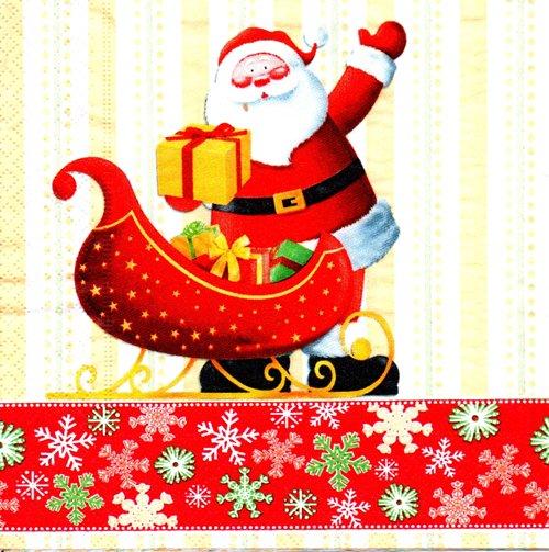 แนวภาพคริสมาสต์ แซนด้าครอส กับรถเลื่อนของขวัญ ภาพโทนสีแดงครีม เป็นภาพ 4 บล๊อค กระดาษแนพกิ้นสำหรับทำงาน เดคูพาจ Decoupage Paper Napkins ขนาด 33X33cm