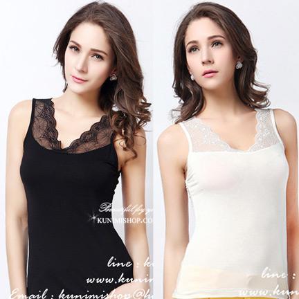 WG033 เสื้อซับใน มี 2 สี ดำ ขาว เสื้อซับในเต็มตัว แขนกุด ตบแต่งด้วยผ้าซีทรูสวยเซ็กซี่ สามารถใส่เดี่ยวๆ หรือ มีเสื้อคลุมทับก็สวยดูดีคะ งานคุณภาพอย่างดี สินค้าเหมือนแบบ 100 %