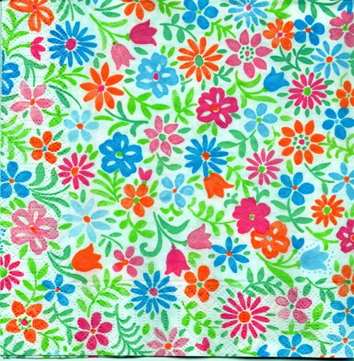 แนวภาพดอกไม้ ดอกไม้ดอกเล็ก ภาพโทนสีขาว เป็นภาพกระจายเต็มแผ่น กระดาษแนพกิ้นสำหรับทำงาน เดคูพาจ Decoupage Paper Napkins ขนาด 33X33cm