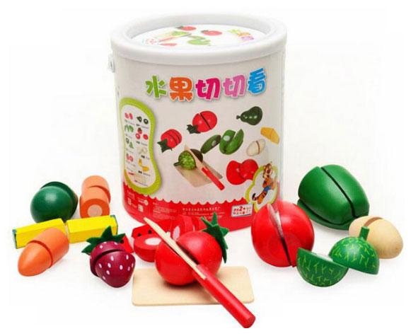 ของเล่นไม้ ชุดหั่นผักผลไม้ถังกลม