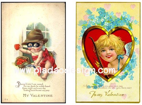 กระดาษสาพิมพ์ลาย rice paper สำหรับทำงาน เดคูพาจ Decoupage แนวภาพ vintage My Valentine จอมโจรสาวน้อยขโมยใจมาให้คุณ กะ คิวปิดสาวผมทอง pladaodesign