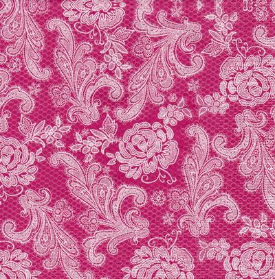 แนวภาพลายแต่ง ลายเส้นดอกไม้สีขาวบนพื้นสีชมพู เป็นภาพเต็มแผ่น กระดาษแนพกิ้นสำหรับทำงาน เดคูพาจ Decoupage Paper Napkins ขนาด 33X33cm