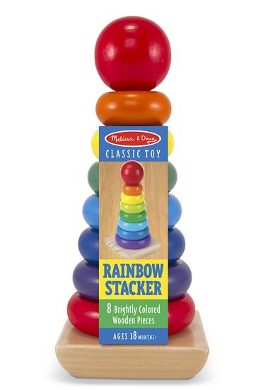 ของเล่นไม้ ห่วงไม้สวมหลักหลากสี Rainbow Stacker