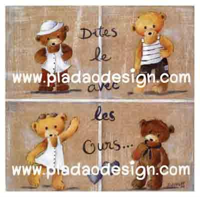 กระดาษสาพิมพ์ลาย rice paper เป็น กระดาษสา สำหรับทำงาน เดคูพาจ Decoupage แนวภาพ น้องหมี เท็ดดี้ แบร์ teddy bear 4 ฤดู มากัน 4 หมี 4 สไตล์ น่ารักมาก (pladao design)