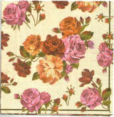 แนวภาพดอกไม้ เป็นช่อดอกกุหลาบ โทนชมพูส้มบนพื้นขาว เป็นภาพเต็มแผ่น กระดาษแนพกิ้นสำหรับทำงาน เดคูพาจ Decoupage Paper Napkins ขนาด 33X33cm