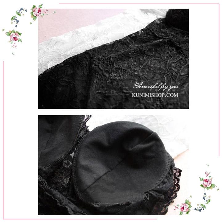 สื้อซับในผ้ายืด ลายลูกไม้ทั้งตัว ด้านหน้าและด้านหลัง เสริมฟองน้ำ คอวี จะใส่เป็นซับใน หรือ แบบใส่กับเสื้ออีกตัวคลุมก็ดูสวยเซ็กซี่ครับ ขนาด FREE SIZE มี 2 สี : สีขาว สีดำ