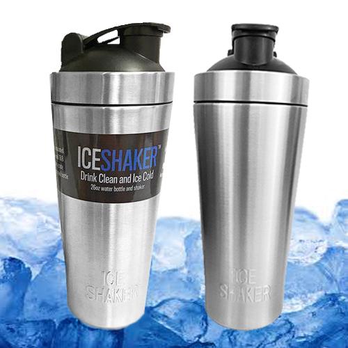 แก้วเก็บความเย็น Ice shaker สีเงิน เก็บเย็นนานกว่า 30 ชั่วโมง