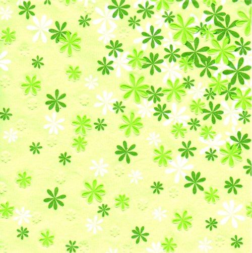 แนวภาพดอกไม้ กระดาษลายนูนดอกไม้ ภาพโทนสีเขียว เป็นภาพกระจายเต็มแผ่น กระดาษแนพกิ้นสำหรับทำงาน เดคูพาจ Decoupage Paper Napดkins ขนาด 33X33cm