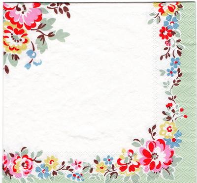 แนวภาพลายแต่ง เส้นขอบดอกไม้พื้นขาว ในกรอบสีเขียว เป็นภาพเต็มแผ่น กระดาษแนพกิ้นสำหรับทำงาน เดคูพาจ Decoupage Paper Napkins ขนาด 33X33cm