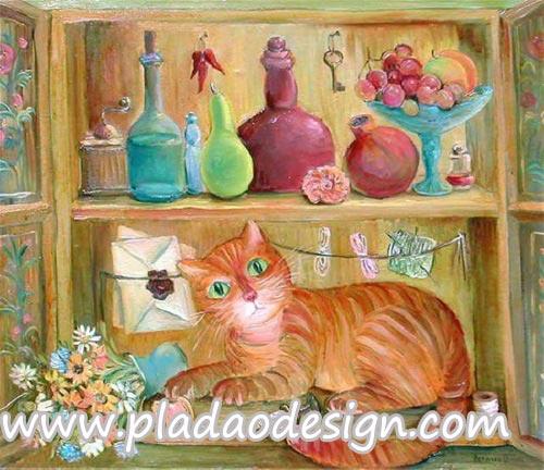 กระดาษสาพิมพ์ลาย สำหรับทำงาน เดคูพาจ Decoupage แนวภาำพ สไตล์ภาพวาด น้องแมวสีส้มแอบมานอนเล่นบนชั้นวางขวด