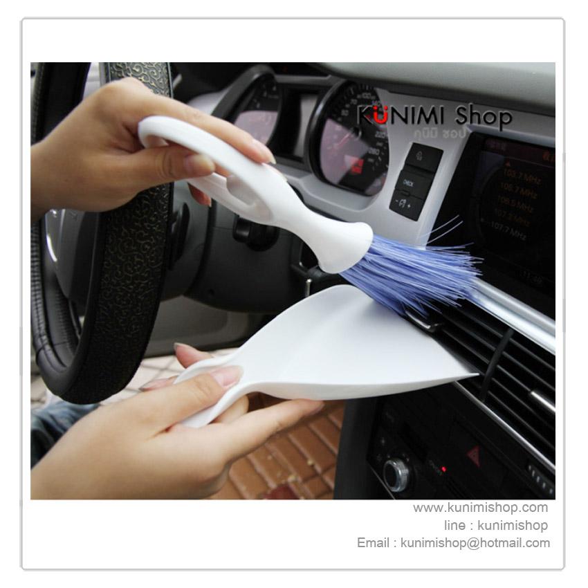 GL041 ไม้กวาดพร้อมที่รอง ขนาดเล็ก สำหรับทำความสะอาดฝุ่นในที่แคบๆ ในรถยนต์ และอื่นๆ