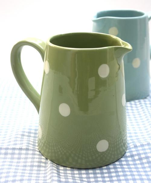 เหยือกน้ำขนาดกลางสไตล์วินเทจ ลายจุด Polka Dot สีเขียว epc design