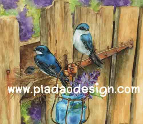 กระดาษอาร์ตพิมพ์ลาย สำหรับทำงาน เดคูพาจ Decoupage แนวภาำพ นกน้อยสีน้ำเงิน 2 ตัว มาสร้างรังกันบนรั้วไม้ สีคลาสสิคสวยหวาน (ปลาดาวดีไซน์)
