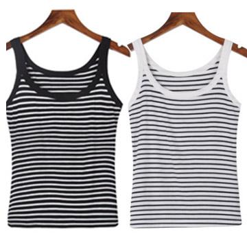 WG074 เสื้อสายเดี่ยว ลายขวาง สีขาวสลับดำ เนื้อผ้ายืดหยุ่น ขนาด Free Size รอบอกไม่่เกิน 36 นิ้ว