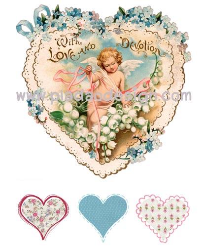 กระดาษสาพิมพ์ลาย rice paper สำหรับทำงานฝีมือ เดคูพาจ Decoupage แนวภาพ คิวปิดน้อยในหัวใจลายฉลุสีฟ้ารายล้อมไปด้วยมวลหมู่ดอกไม้ ปลาดาวดีไซน์