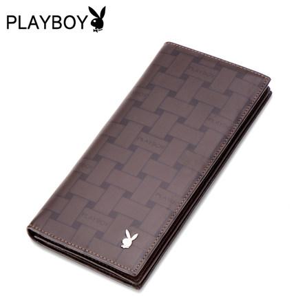 Playboy กระเป๋าสตางค์ กระเป๋าหนัง cowhide แบบยาว-น้ำตาล