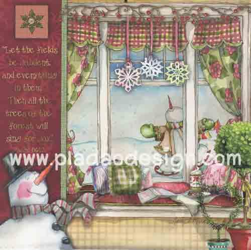 กระดาษอาร์ตพิมพ์ลาย สำหรับทำงาน เดคูพาจ Decoupage แนวภำพ in the room แอบมองลอดหน้าต่างเห็น สโนว์แมน Cozy bay window (ปลาดาวดีไซน์) สำเนา