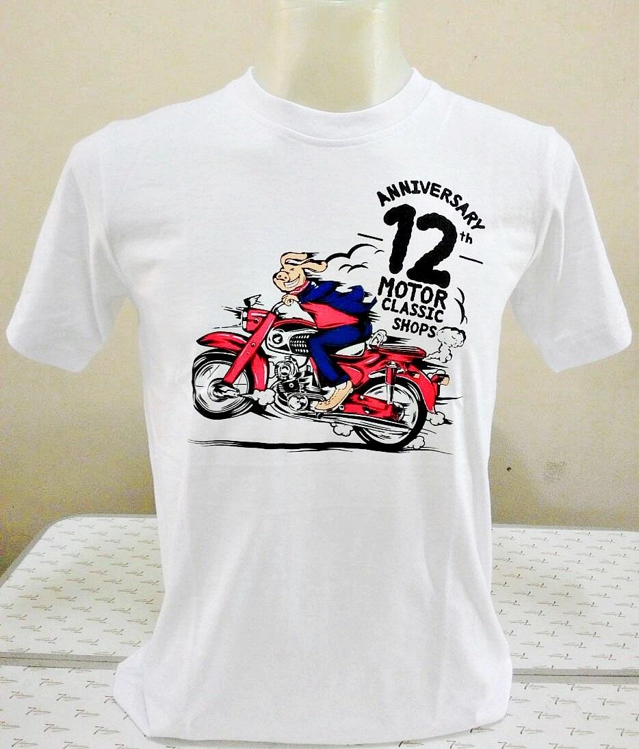 เสื้อ Motor Classic Shops ครบรอบ 12 ปี ลายหมู Honda สีขาว Size M