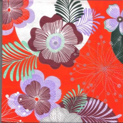 แนวภาพดอกไม้ ลายเส้นดอกไม้หลากชนิด ภาพโทนสีแดง เป็นภาพกระจายเต็มแผ่น กระดาษแนพกิ้นสำหรับทำงาน เดคูพาจ Decoupage Paper Napkins ขนาด 33X33cm