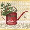 กระดาษสาพิมพ์ลาย สำหรับทำงาน เดคูพาจ Decoupage แนวภาำพ ภาพวาด ปลูกต้นไม้มีผลสีแดงคล้ายเชอร์รี่ในฝักบัวรดน้ำสังกะสีสีแดง สไตล์วินเทจ vintage (ปลาดาวดีไซน์)