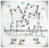 กระดาษสาพิมพ์ลาย rice paper เป็น กระดาษสา สำหรับทำงานศิลปะ เดคูพาจ Decoupage แนวภาพ บรรดาน้องหนูๆถือกล้องมาถ่ายรูปพี่แมวหมู่ เป็นภาพวาดลายเส้นดินสอ pladao design