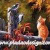 กระดาษสาพิมพ์ลาย สำหรับทำงาน เดคูพาจ Decoupage แนวภาำพ น้องแมวน้อยแสนซน นั่งบนรั้วขอนไม้ มองนก2 ตัวว่าทำไมมีหัวเป็นสีส้ม