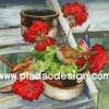กระดาษอาร์ตพิมพ์ลาย สำหรับทำงาน เดคูพาจ Decoupage แนวภาำพ นกน้อยสีน้ำตาล 2 ตัว นั่งคุยกันอยู่ในกระถางดอกไม้สีแดงปักธงชาติอเมริกา ตั้งอยู่บนบันไดไม้ สีคลาสสิคสวยหวาน (ปลาดาวดีไซน์)