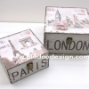 กล่องเก็บของทรงจตุรัส 2 ใบชุด ภาพวินเทจชุด Paris London เก็บซ้อนกันได้