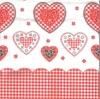 แนวภาพความรัก หัวใจลายแต่ง กับขอบลายผ้าสก๊อต ภาพโทนสีขาวแดง เป็นภาพแนวยาว กระดาษแนพกิ้นสำหรับทำงาน เดคูพาจ Decoupage Paper Napkins ขนาด 33X33cm