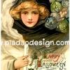 กระดาษเดคูพาจพิมพ์ลาย สำหรับทำงาน เดคูพาจ Decoupage งานฝีมือ งาน Handmade แนวภาพ vintage แม่มดวินเทจ Happy Halloween แม่มดสาวสุดสวยมากับบรรดาเอเลี่ยนสีเอิร์ทโทน (ปลาดาว ดีไซน์)