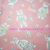 ผ้า Cotton พิมพ์ลาย สำหรับทำงานฝีมือ หรือบุชิ้นงาน - ลาย แมวน้อย Jasmin & Neil โทนส้มหวาน