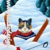 กระดาษสาพิมพ์ลาย สำหรับทำงาน เดคูพาจ Decoupage แนวภาพ พี่แมวสีสวยตัวเดิมนักเดินทางท่องเที่ยว วันนี้ไปเล่นสกี