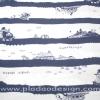 ผ้า Cotton พิมพ์ลาย สำหรับทำงานฝีมือ หรือบุชิ้นงาน - ลาย Pirate's Island โทนน้ำเงิน